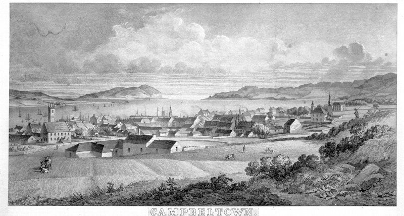Campbeltown, general. Photographic copy of an etching of general view from East.