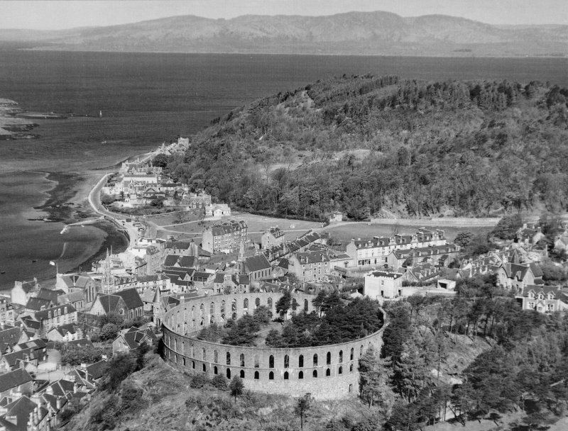 Oban, McCaig's Tower. Oblique aerial photograph including the town and bay.