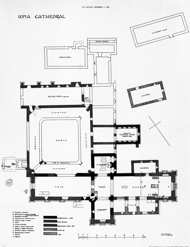Iona, Iona Abbey. Photographic copy of site plan. Titled: 'Iona Cathedral'.