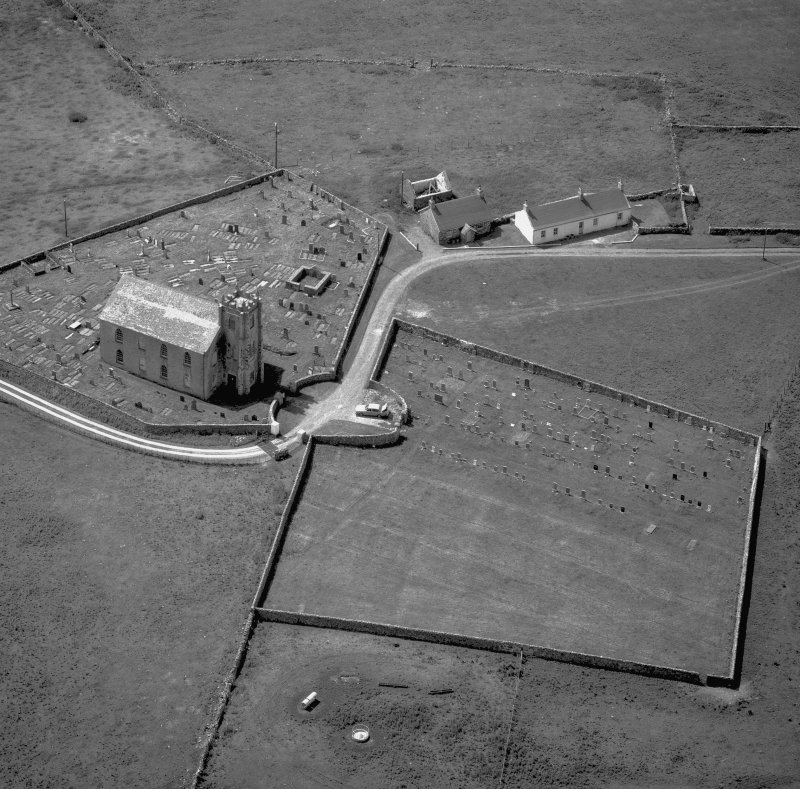 Kilchoman Old Parish Church. Aerial view from North East.