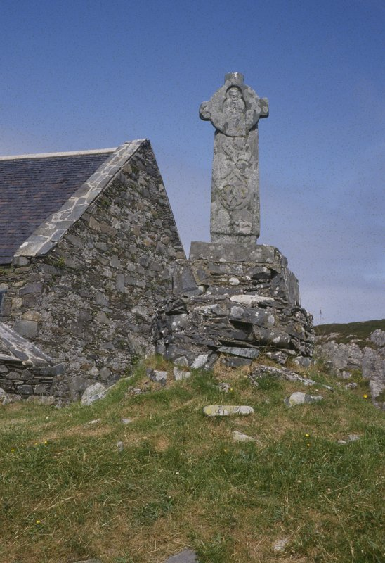 Copy of colour slide showing view of small cross at  Oronsay Priory (Colonsay) NMRS Survey of Private Collection  Digital Image Only