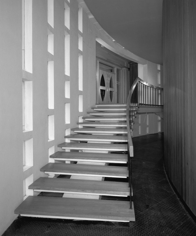 View of north entrance staircase in the council chamber corridor, Lanark County Buildings, Hamilton