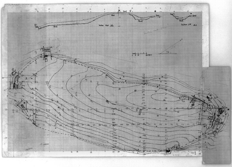 Digital image of ink and pencil plan of Traprain Law, and sections, DC/36545.