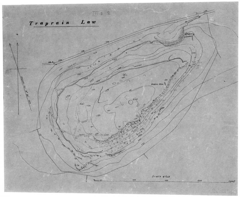 Digital image of black and red ink plan of Traprain Law, annotated 'Traprain Law'. Show outlines of Curle and Cree excavation trenches A-Q, but excludes R-T undertaken in 1923.