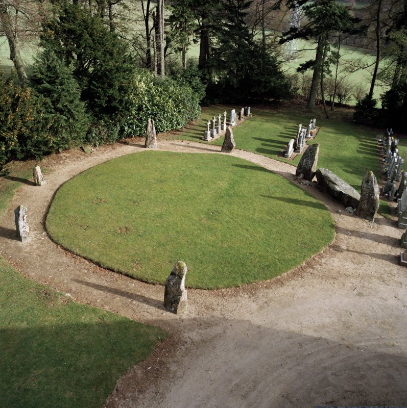 High-spy view of recumbent stone circle.