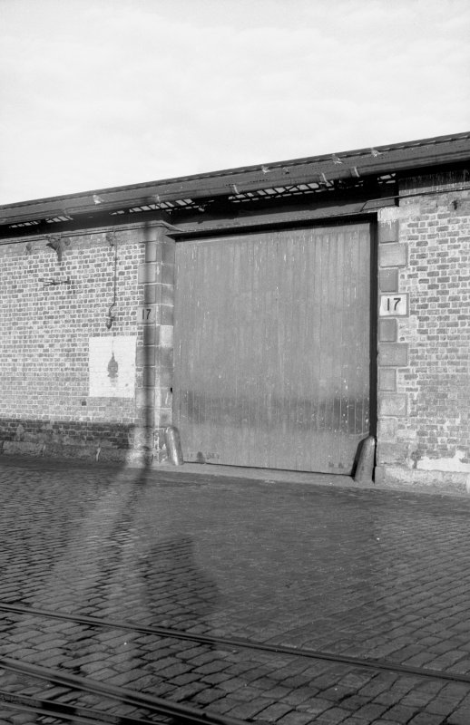 View from S showing doorway on SSW front of S goods shed