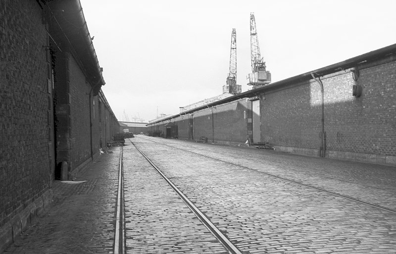 View from SE showing part of SSW front of S goods shed of Queen's Dock with part of Stobcross Quay goods shed on left