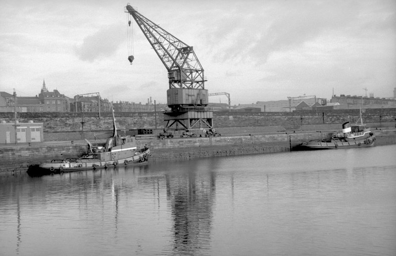 View from SW showing crane on north quay