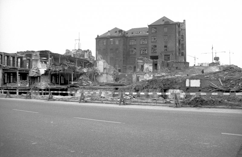 View from SSE showing remains of 400 Cathedral Street with 38-44 Cunningham Street in background