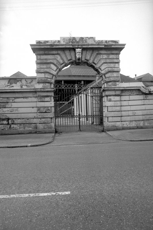 View from ESE showing ESE front of gateway to cattle market on Bellgrove Street