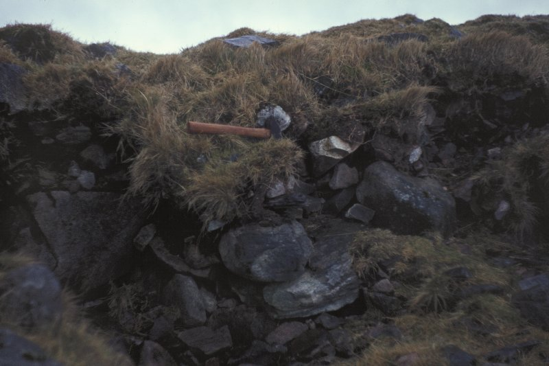 Copy of colour slide showing view of Dun Deardail, Glen Nevis, Highland.  Large stones, possibly of outer facing wall NMRS Survey of Private Collection  Digital Image Only