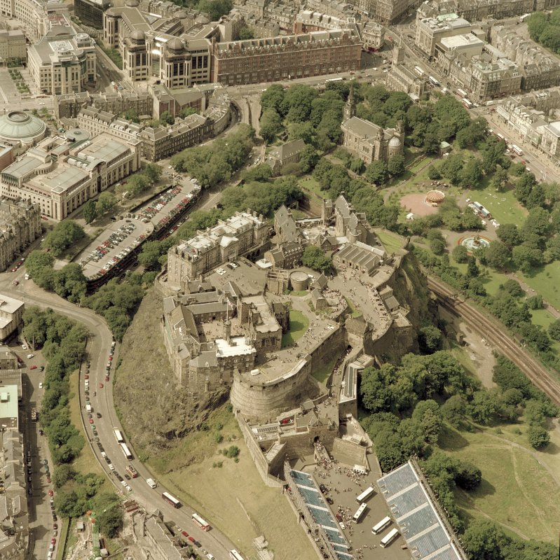Oblique aerial view centred on Edinburgh Castle, taken from the ESE. Digital image of D/56900/CN.