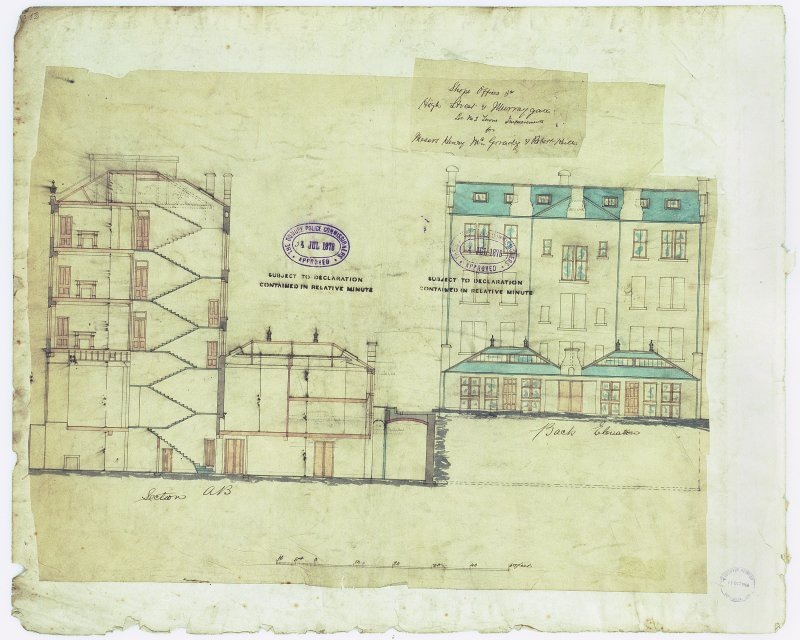 Shops & Offices for Hendry McGrady & Robert Keith. Digital image of verso: section and rear elevation.