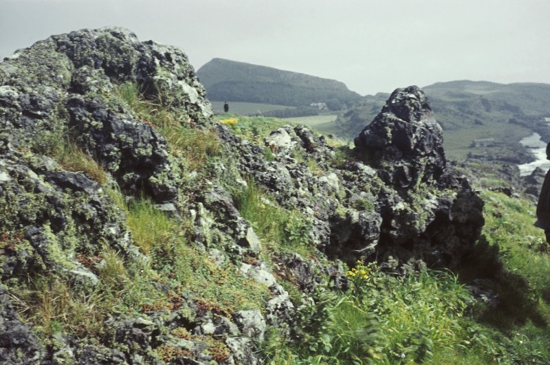 Copy of colour slide showing view of vitrified mass of rampart, Dunagoil, Bute NMRS Survey of Private Collection  Digital Image Only