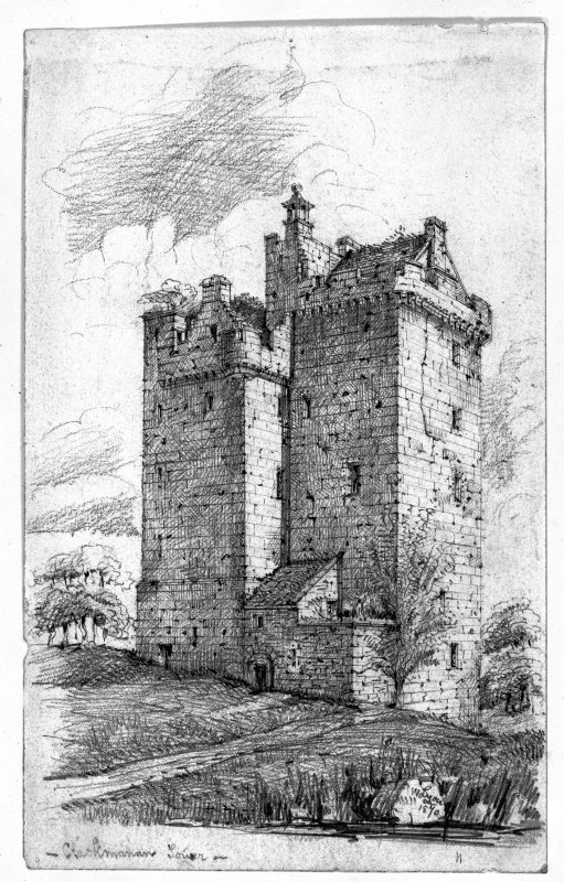 Photographic copy of a pencil sketch by W F Lyon.  General view from south west of Clackmannan Tower.  Digital image of CLD 8/32.