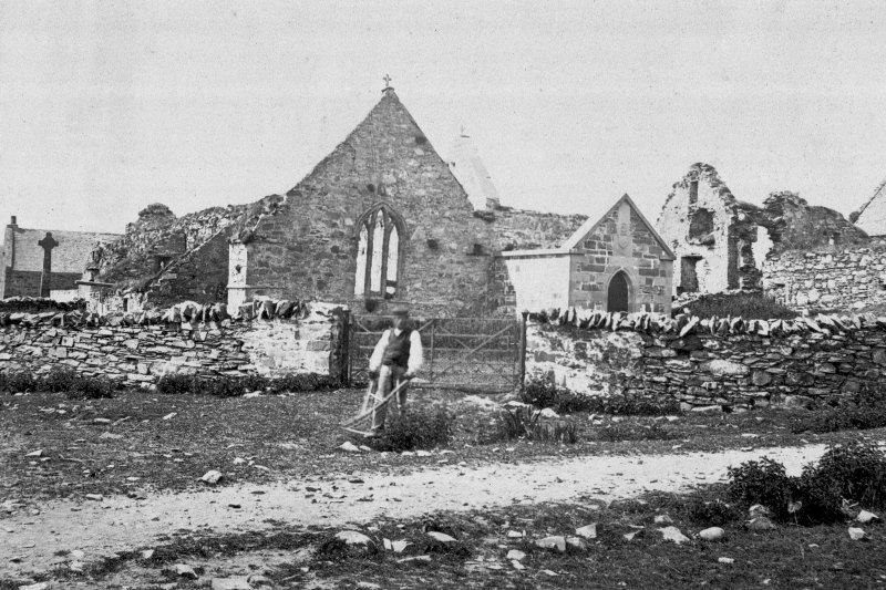 Oronsay Priory. General view of the ruins. Digital image of historic photograph.