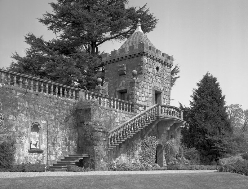 Mull, Torosay Castle. View of staircase and North garden pavilion from East.