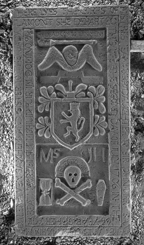 Kilfinan Parish Church. Lamont Aisle. Armorial slab of Jean Urray, 1706.