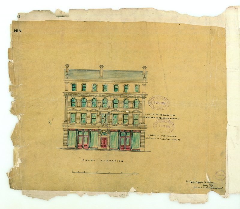Verso: Front elevation Murraygate, Shops & Houses for Robert Laing. Stamped: The Dundee Police Commissioners