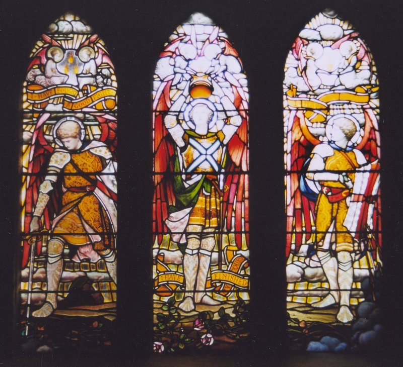 Detail of 3 stained glass windows.