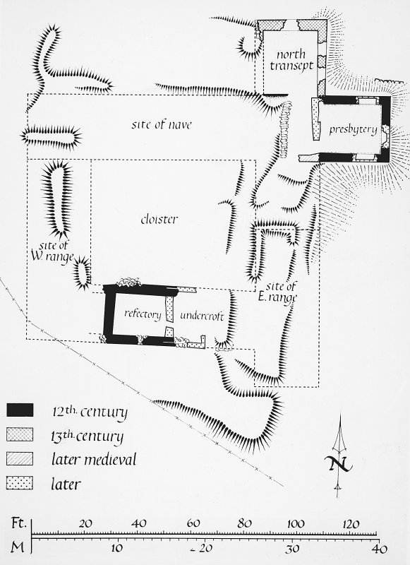 Argyll, Saddell Abbey. Photographic copy of site plan.