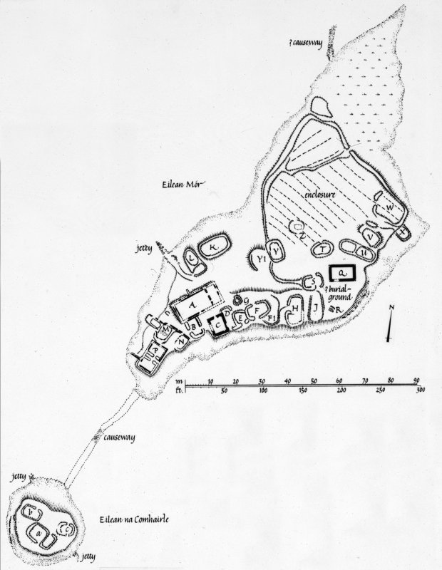 Finlaggan Castle, Islay. Photographic copy of survey drawing of plan of castle, chapel and Eilean na Comhairle.