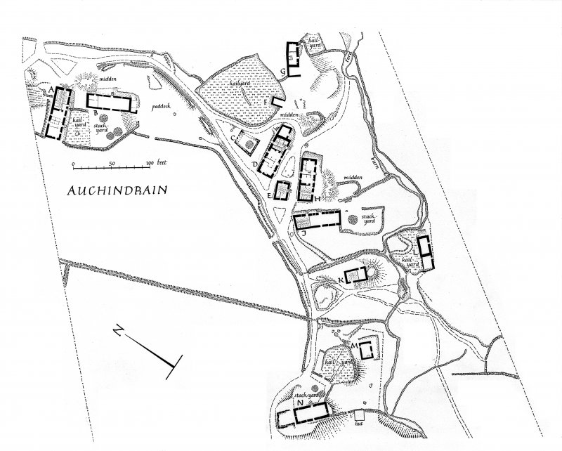 "Auchindrain. Photographic copy of site plan excluding South West corner.  Signed: 'Ian G Scott. Oct '63'. Scale: 1"":39'"