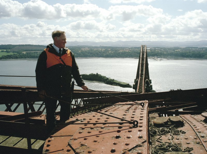 View from the North of Mr Alex White (Bridge Inspector) standing on top of the Fife erection.