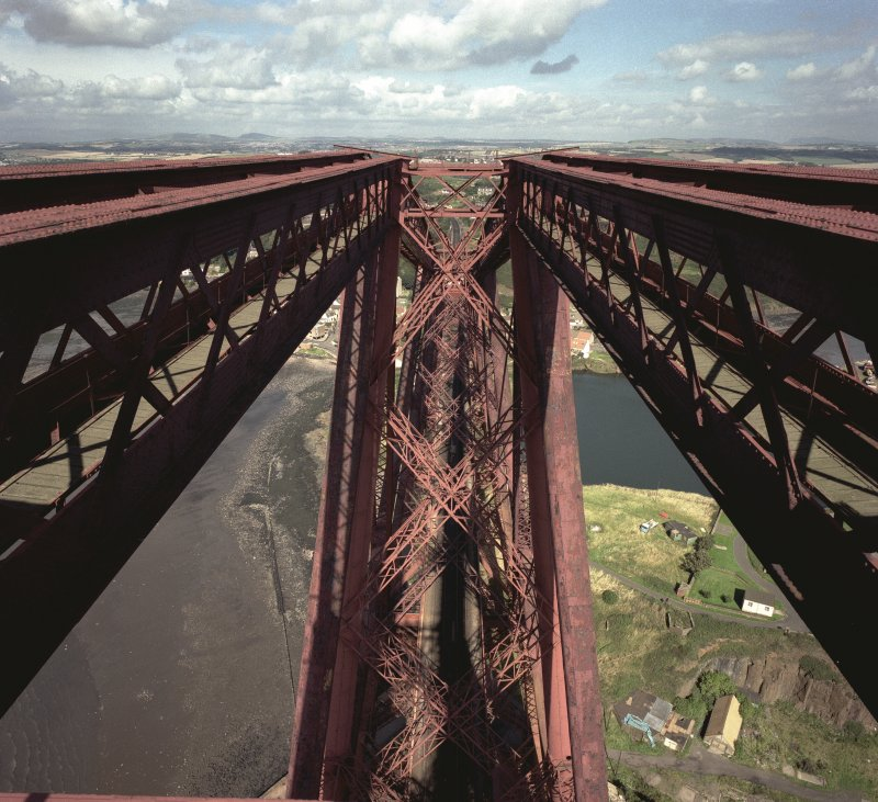 View from the top of the Fife erection at Forth Bridge looking North at the track below.