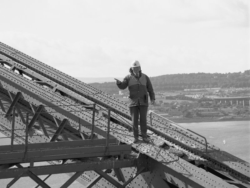 Mr Alex White, Forth Bridge Inspector, on the North cantilever of the Fife erection.