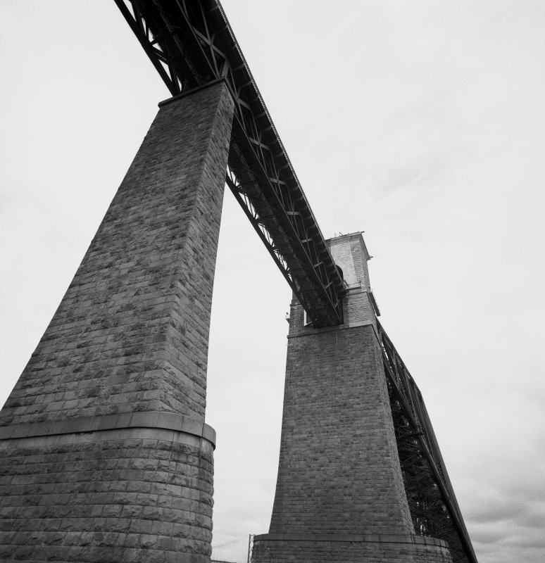 View from below of the piers supporting the South approach viaduct (seen from the rescue boat). Digital image of B 3419.