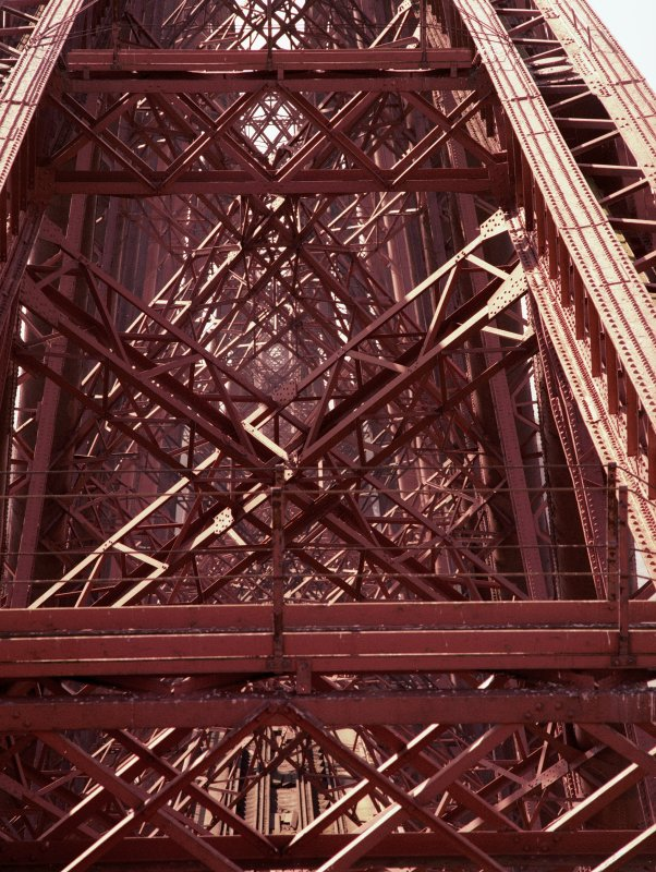 Detailed view of the latticed steelwork bracing in the Fife erection. Digital image of B 3311 CN.