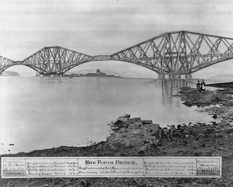 Composite photograph of an artist's impression of the bridge seen from the South West shore. Insc. 'The Forth Bridge. Engineers Sir John Fowler, B. Baker Esq. Length including Viaduct 8098 Feet. Length of Central Girder 350 Feet. Width of Central Girder 28 Feet. Diameter of Largest Tubes 12 Feet. Height extreme 369 Feet. Spans each 1710 Feet. Headway 150 Feet. Diameter of Piers 49 Feet. Length of three Cantilevers 5350 Feet.  Width of each Cantilever top 33 Feet. Depth at end of Cantilever 40 Feet. Depth at end of Cantilever 40 Feet. Diameter of smallest Tubes 3 Feet. Contractors Tanered Arrol & Co. Copyright Entered at Stationershall.' Digital image of B 10583.
