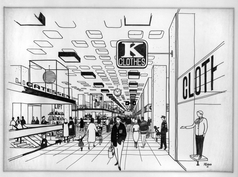 Drawing of Cumbernauld Town Centre, by Michael Evans.