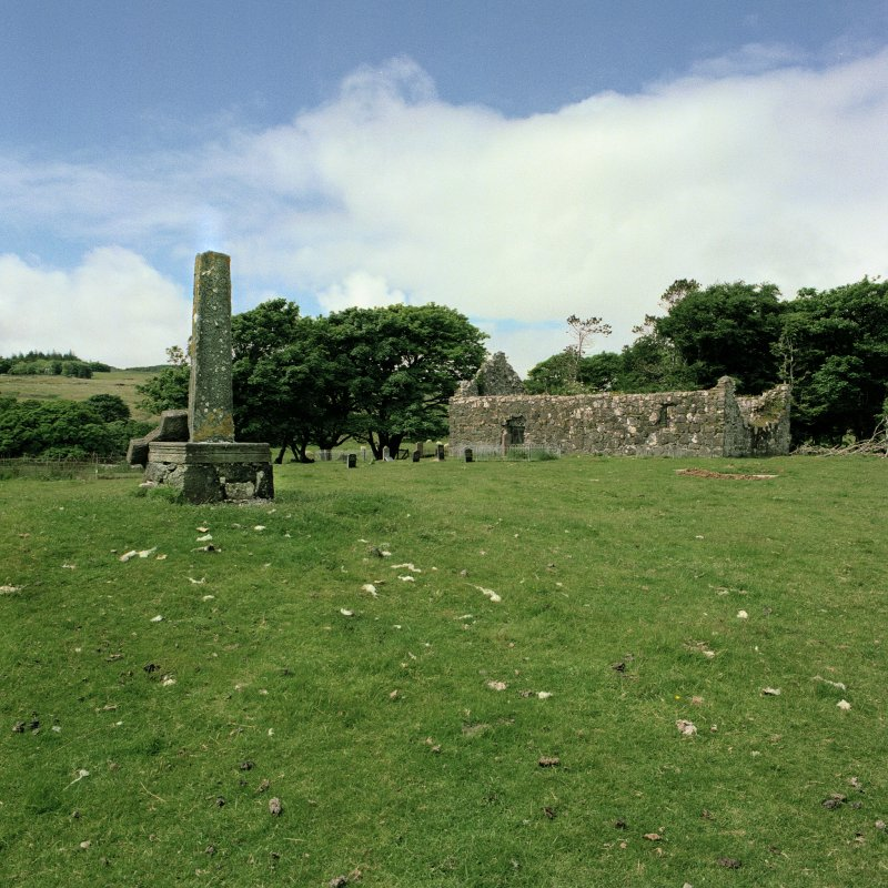 Copy of colour photograph showing Kildonan Church and cross-shaft.