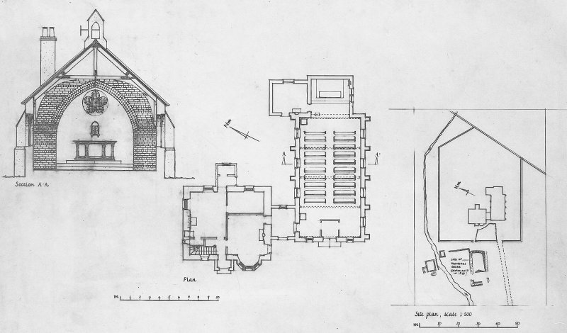 Copy of pencil survey drawing of plans and elevation of St Donnan's Roman Catholic Church, Cleadale, Isle of Eigg.