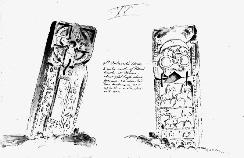 Annotated drawing of both faces of cross slab from album, page 16.