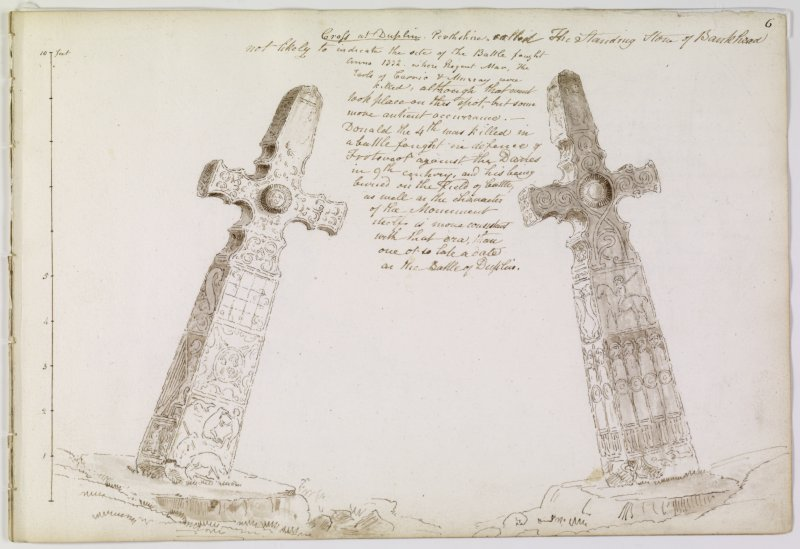 Annotated drawing of both faces of cross from album, page 6.  Digital image of PTD/299/1/P.