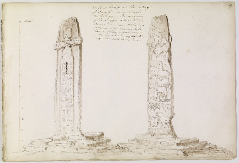Annotated drawing of both faces of cross slab, from album, page 9.  Digital image of PTD/302/1/P.