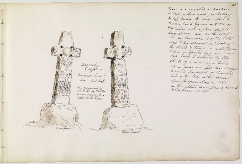 "Drawing showing front and back of Barochan Cross.  Titled: '""Barrochan Cross, Renfrewshire. 11 or 12 feet high. This monument is attributed by tradition to commemorate a defeat of the Danes'."