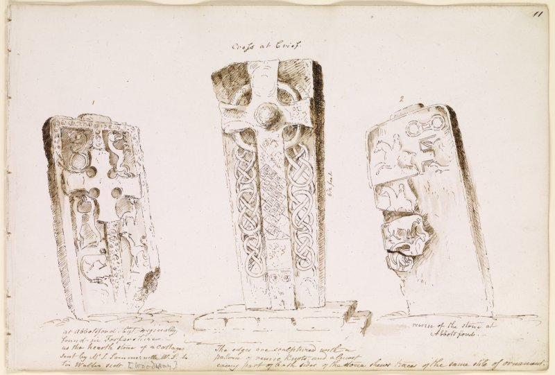 Annotated drawing of cross slab from album, page 11.  Digital image of AND/811/1/P.