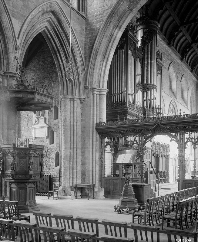 Interior-general view showing pulpit and organ pipes