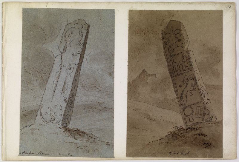 Annotated drawings of both faces of cross slab from album, page 33.  Digital image of ABD/503/1/P.