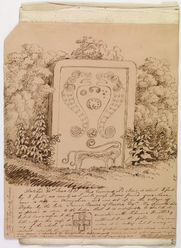 Annotated drawing of cross slab, Rodney's Stone, Brodie.
