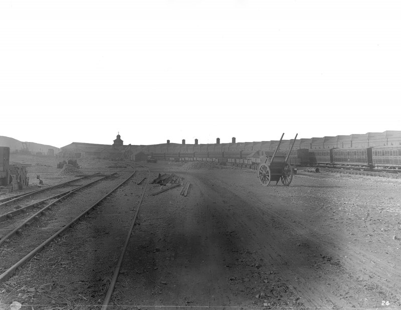 General view of tracks and freight warehouses