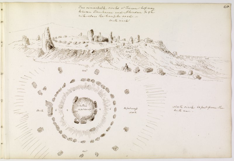 Annotated drawing and plan of stone circle from album, page 65.  Digital image of KCD/114/1/P.