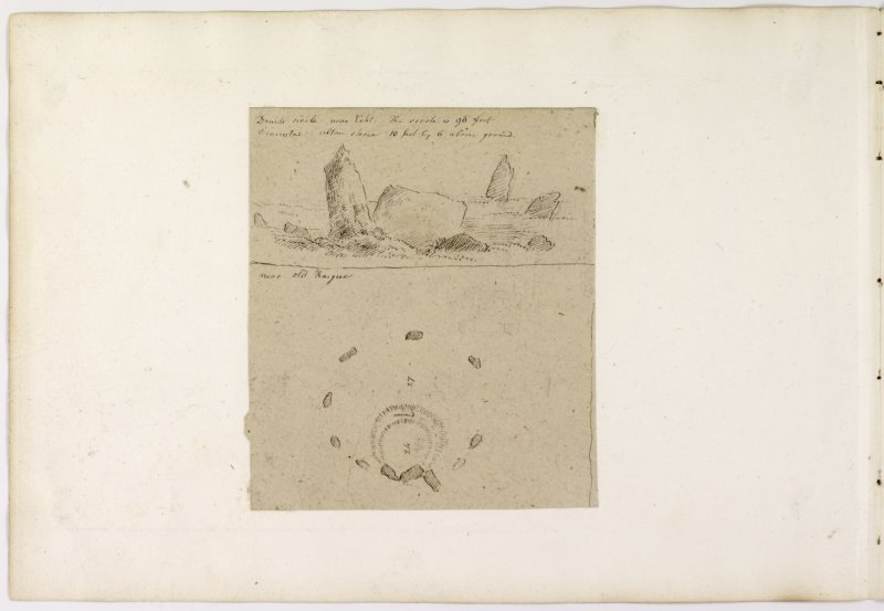 Annotated drawing and plan of stone circle from album, page 68(reverse).