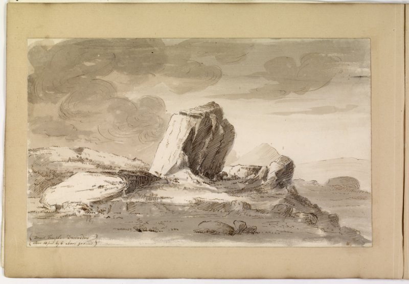 Drawing of stone circle from album, page 70(reverse).  Digital image of ABD/509/1/P.