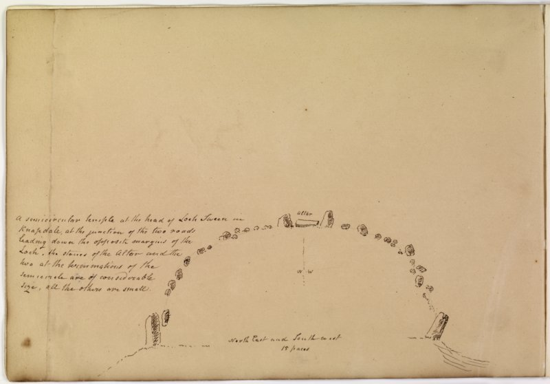 Annotated plan of stone circle from album, page 71(reverse).  Digital image of AGD/793/1/P.