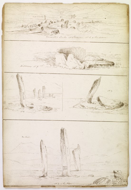 Drawing showing monuments at Machrie Moor, Arran in 1832.